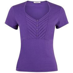 Precis Petite Button Detail Jersey Top, Purple (£19) ❤ liked on Polyvore featuring tops, shirts, t-shirts, petite, short sleeve button shirts, purple shirt, short-sleeve button-down shirts, chevron shirt and button down top