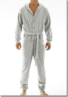 Loose fitting jumpsuit by Modus Vivendi. These male onesies are made from fine Italian Velvet. The design comprises two pockets, same material belt and hood, button front fastening and ribbed legs. Perfect for a night in front of the TV on a lazy Sunday. A unique piece of loungewear you will fall in love with. Cotton 65%, polyester 35%.
