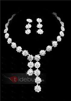 Elegant Clear Crystals Wedding Bridal Jewelry Set