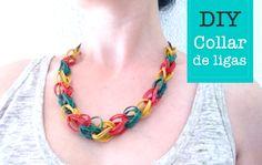 Collar de gomitas (ligas). Rubber bands necklace http://manualidades.euroresidentes.com/2014/07/como-hacer-un-collar-con-gomas-de.html