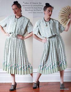 VTG 80's Mint Green & White Floral Tea Dress // by sideshowsam, $46.00