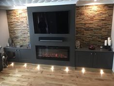 Fireplace Feature Wall, Tv Feature Wall, Feature Wall Living Room, Living Room Decor Fireplace, Fireplace Tv Wall, Fireplace Built Ins, Fireplace Design, Wall Mounted Electric Fires, Wall Mount Electric Fireplace