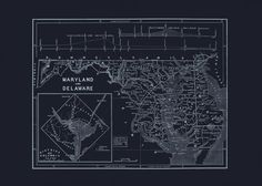 MARYLAND STATE MAP Maryland and Delaware by EncorePrintSociety