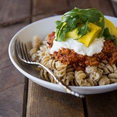 Lasagna, but easier!!  Whole wheat lasagna bowls with mozzarella greek yogurt sauce.