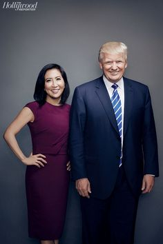 Janice Min, president and chief creative officer of Guggenheim Media's Entertainment Group, with Trump.