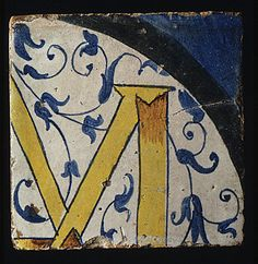 Panel of Tiles, workshop of Masséot Abaquesne, France; earthenware, tin enamelled, circa 1549-1551