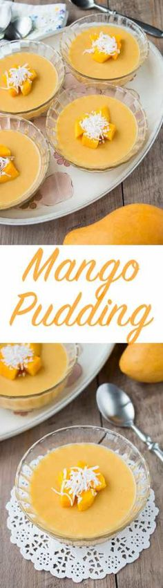 Mango Pudding (video) - Christina Kongas - Mango Pudding (video) This simple, yet elegant dessert captures the glorious taste of fresh mangoes in a rich and silky pudding texture. Indian Desserts, Just Desserts, Indian Food Recipes, Delicious Desserts, Dessert Recipes, Yummy Food, Pudding Recipes, Mango Desserts, Pudding Flavors
