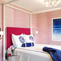 pink chevron wallpaper Pink Grasscloth, Contemporary, bedroom, Tiffany Richey and Chrissi Shields Design Hot Pink Bedrooms, Navy Bedrooms, Blue Bedroom, Trendy Bedroom, Bedroom Decor, Guest Bedrooms, Kids Bedroom, Guest Room, Bedroom Wallpaper Accent Wall
