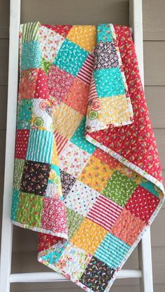 Ready to ship modern baby quilt toddler quilt lap quilt Cute Quilts, Lap Quilts, Scrappy Quilts, Amish Quilts, Patch Quilt, Quilt Blocks, Quilting Projects, Sewing Projects, Polka Dot Quilts