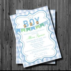 It's a Boy Baby Shower InvitationPrintable by GooseCornerGreetings, $12.00