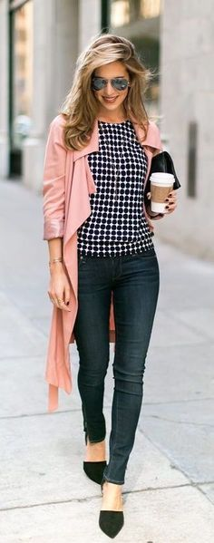 #Summer #Outfits / Pink Cardigan + Pattern Print Top