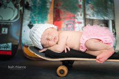 Baltimore newborn portraits by Leah Rhianne Photography. #skateboard #babygirl