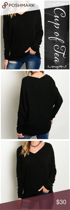 """🆕 Black oversized raw hem sweater Amazing sweater!!! Oversized for versatile looks. Make it sexy off the shoulder with heels or casual with sneakers! Raw edge hem. 100% acrylic. Lightweight. SMALL: bust 42"""" length 26"""" MEDIUM: bust 44"""" length 27"""" LARGE: bust 46"""" length 28"""". CupofTea Sweaters Crew & Scoop Necks"""