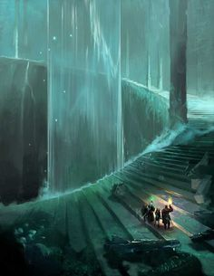 Fantasy City, Fantasy Places, Fantasy World, Dark Fantasy, Final Fantasy, Medieval Fantasy, Fantasy Art Landscapes, Fantasy Landscape, Landscape Art