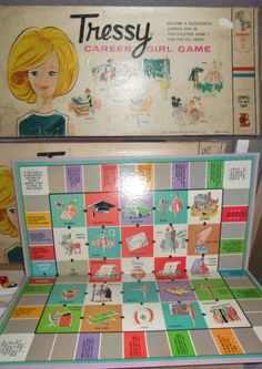 """""""Tressy Career Girl Game,"""" published by Lowell Toy Mfg. in I don't think Girls were encouraged to be Engineers, Politicians or Lawyers in those days! Old Board Games, Vintage Board Games, All Types Of Games, Different Games, Family Game Night, Family Games, Fun Games, Games To Play, Bored Games"""