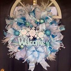 "Lighted ""Welcome Winter"" snowflake Deco Mesh Christmas wreath on Etsy."