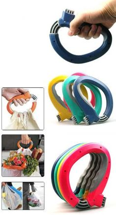 One Trip Grip Grocery Bag Holder - would also be great for holding two leashes at once.