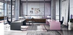 Vogue pink design desk by Sinetica office furniture