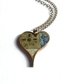 Handmade Open Bezel Mix Media Heart Pendant Item# HP21602 by ajunkersjournal on Etsy