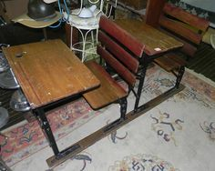 2 Antique Old School House Desk And Chair Vintage