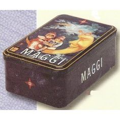 FRENCH VINTAGE SUGAR METAL BOX 20x13x7cm RETRO AD MAGGI LUNE