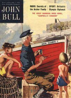 John Bull Magazine Cover, UK, 1950s Elizabeth I, Family Humor, Vintage Magazines, United Kingdom, 1950s, Novels, History, Funny, Sports