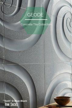 ANN SACKS Geode concrete tile collection by Andy Fleishmann. Shown: Swirl in Blue Black