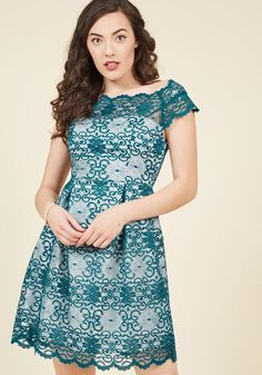 Optimal Enchantment Lace Dress in Teal  This lace cocktail dress offers up your ideal level of show-stopping style! A scalloped neckline and cap sleeves, subtle pleats, and a bright white underlay all come together to make a case for this rich teal frock - a ModCloth exclusive - being the perfect pick for that swanky soiree on the horizon.