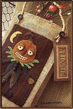 Pumpkin-Man-PrimiTive-Original-Wool-Applique-Halloween-Folk-Art-Bag-Door-Hanger