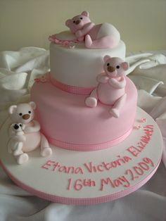 Pink Teddies Chistening Cake