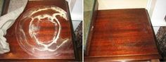 Remove water stains/rings from wood furniture ... place a cloth or dish towel over the water ring and gently iron the cloth with a hot iron for a few minutes and your water ring will be gone!  Have actually used this method myself after trying everything to remove water rings and it works like magic!