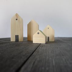 4 lovely wooden houses, children room decor, kids playroom sculpture, handmade gift on Etsy, $17.00