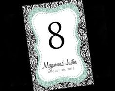 Glitter Damask Table Numbers, Wedding Table Numbers - Bling Wedding Table Numbers