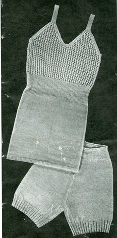 "Vintage ladies underwear knitting pattern 1940's. Knitted underwear pattern 'Cosyness'  aaah! Knitted in vintage 2ply will fit a 34"" bust and 38"" hips"