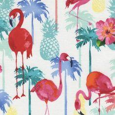 Timeless Treasures - Flamingoes & Pineapples - Sew Scrumptious Fabrics