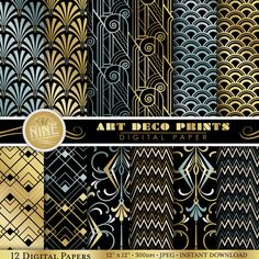 Digital Paper Pack ART DECO Pattern Prints Instant by MNINEDESIGNS, $4.99