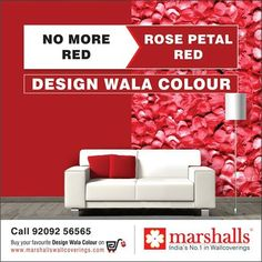 Bid adieu to that plain Red painted wall and decorate your wall with this exquisite Rose Petal Red Wallcovering #OnlyWithMarshalls!  Explore more on marshallswallcoverings.com #DesignWalaColour #Wallpapers #Wallcoverings #WallDecor #HomeDecor #walls #homes #offices #homeinteriors #officeinteriors #marshallswallpaper #marshallswallcoverings.