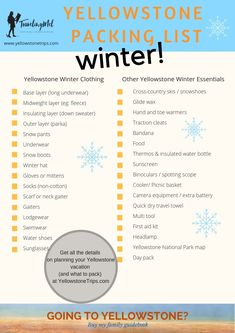 What should you pack for a winter trip to Yellowstone National Park? Our Yellowstone winter packing list makes it easy to check off the essentials for a warm and safe trip. Yellowstone Winter, Yellowstone Camping, Yellowstone Vacation, Camping Packing, Camping Guide, Packing Tips, Travel Packing, Vacation Packing, Winter Packing