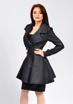 Inez 2 is one of my most elegant jackets, made from 100% cotton or 100% wool blend fabric that ensures a great fit. the fabric i used makes this a worm long jacket suitable for a cold autumn. Available fabrics: black, dark grey, royal blue, pink, light lilac, khaki  The products are made to order so any size will be ready for shipping in 2-3 weeks after payment.  If you dont have a standard size, please send me your measurements following the instructions from this video…