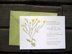 Wild Mustard Flower, Custom Letterpressed Wedding Invitations....