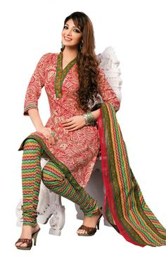 RED & GREEN COTTON SALWAR KAMEEZ - DISH 1023