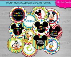 DIY PRINTABLE - Mickey Mouse Clubhouse Cupcake Toppers - Birthday Party - Personalized Party Circles - Digital Printable JPEG file