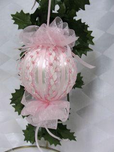 Handmade Christmas Tree Ornament White w/ Pink Ribbons and Trims Big Bows   eBay