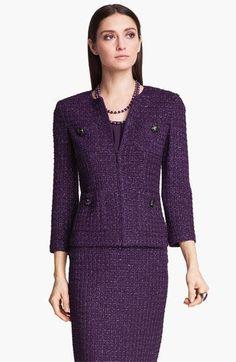 Classic Purple Tweed Skirt Suit