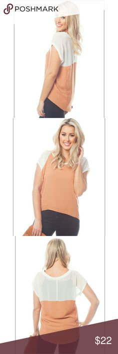 Breezy High Low w/rust cream contrast Breezy loose fitting - Wonderful Top Silky feel gorgeous for summer SMALL has 40 bust 25 length in back MEDIUM has 46 bust 26 length in back  LARGE has a 48 bust 26 length in back Tops