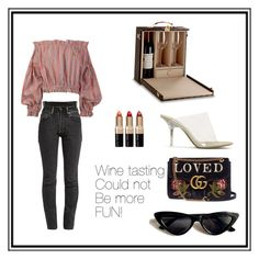 """""""Untitled #47"""" by fashionandtrend on Polyvore featuring Vetements, Gucci, Vivienne Westwood Anglomania, Yeezy by Kanye West, Bobbi Brown Cosmetics, girlstrip and WineTastingOutfit"""