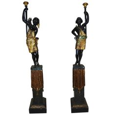 19th Century Venetian Blackamoor Figures with Bases | From a unique collection of antique and modern statues at https://www.1stdibs.com/furniture/building-garden/statues/