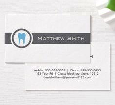 Gray and blue tooth logo dentist dental business cards. Modern personal profile or business card featuring a blue tooth surrounded by a gray, round border. Name, title and contact information on the back, dark gray text.