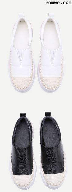 Woven Detail Slip-On PU Sneakers