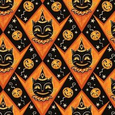 Retro Cat Clown Fabric - Grinning Black Cat Jacks By Johannaparkerdesign - Spooky Scary Halloween Cotton Fabric By The Yard With Spoonflower Halloween Images, Scary Halloween, Vintage Halloween, Fall Halloween, Halloween Meals, Halloween Designs, Halloween Fabric, Halloween Painting, Halloween Prints